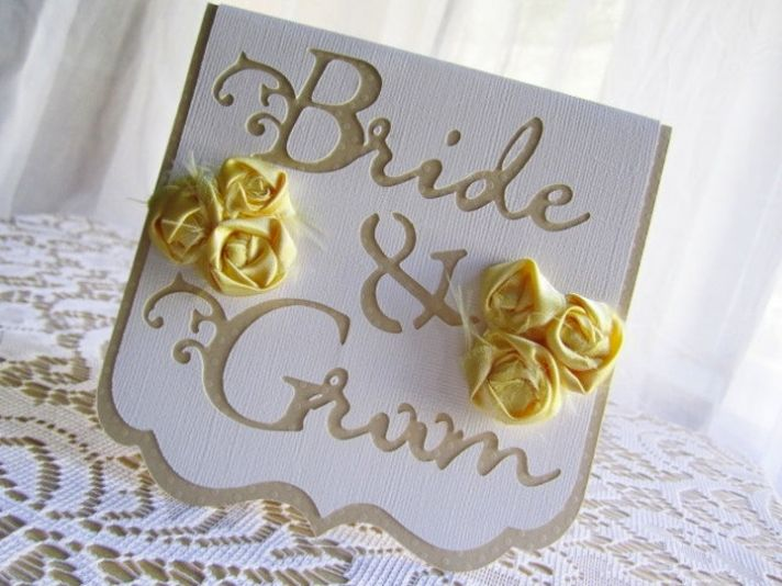 beige yellow wedding reception table cards