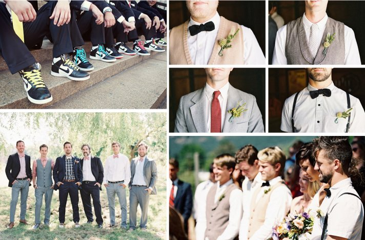 mix and match groomsmen real wedding photos