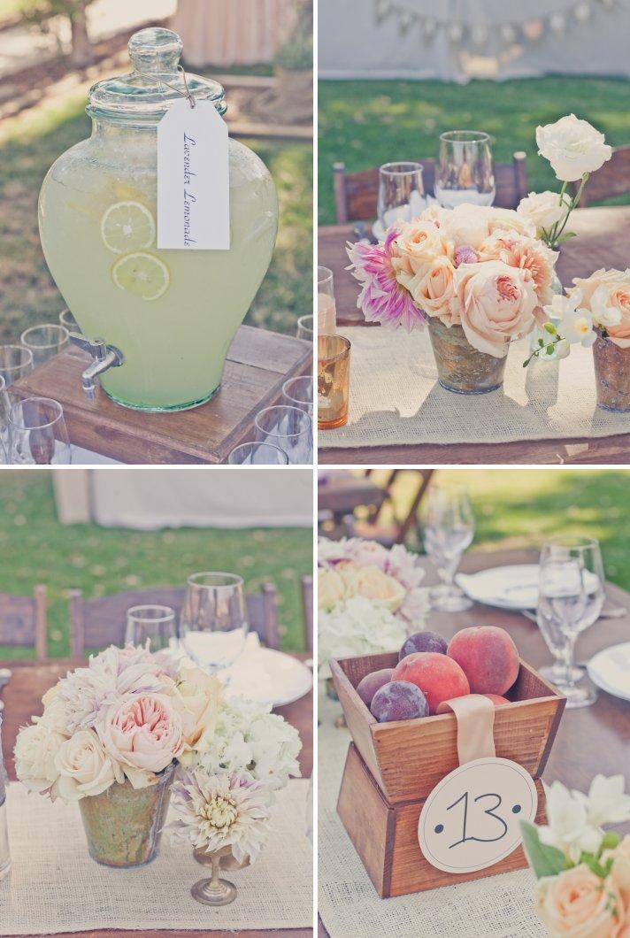 elegant outdoor wedding romantic colors peach lavender weddings reception centerpieces 2