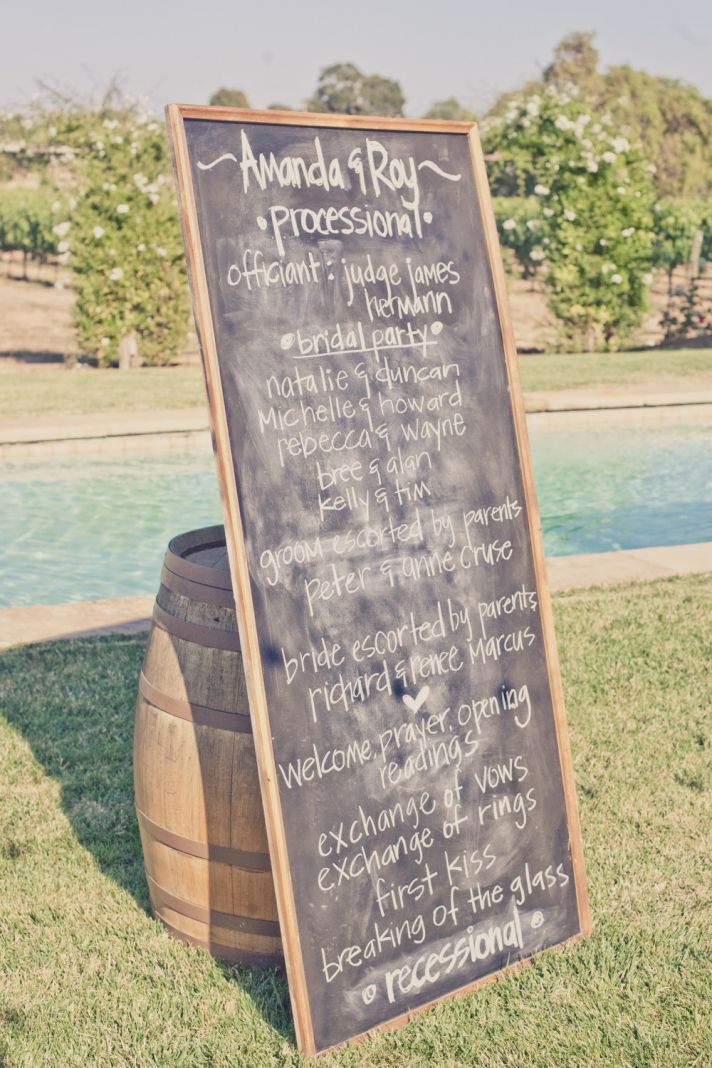elegant real weddings lavender peach wedding colors chalkboard program
