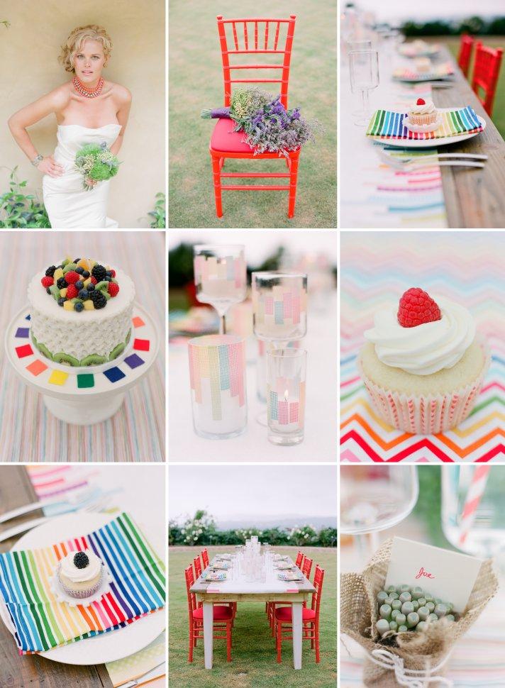bright wedding color inspiration rainbow weddings outdoor reception shoot 1