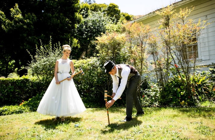 vintage inspired wedding at a mansion California weddings bride groom lawn games