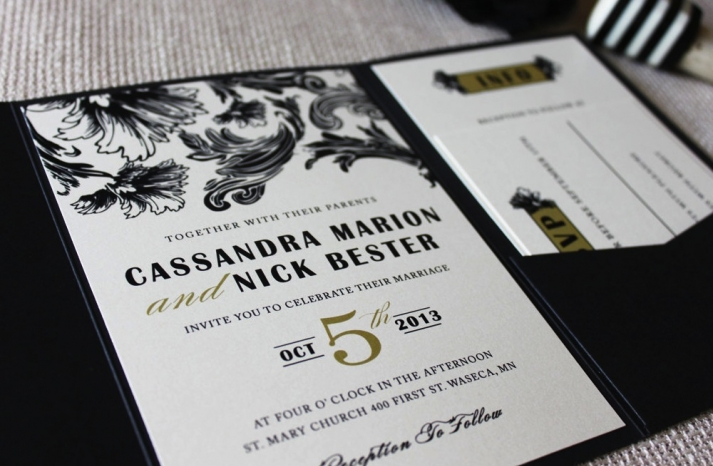 gilded wedding invitations Etsy weddings stationery vintage glam black ivory gold