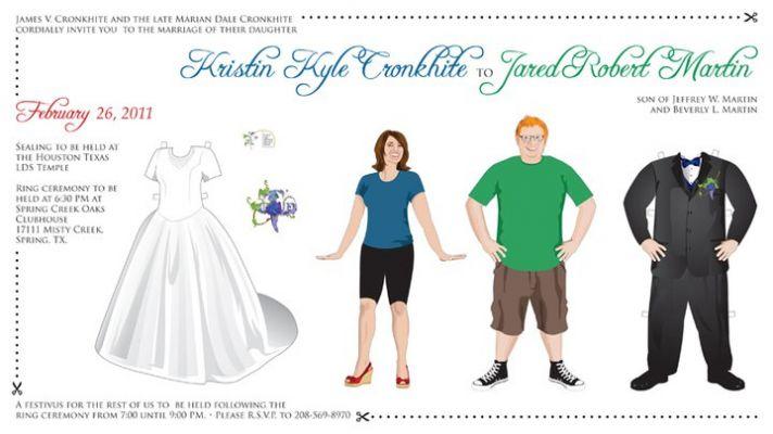 unique wedding save the dates paper dolls