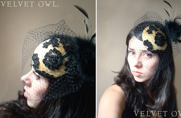 handmade wedding finds for Halloween themed I Dos fascinator for bridesmaids