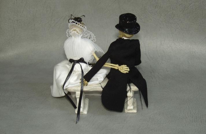 halloween wedding ideas for fall weddings Etsy handmade skeleton cake topper