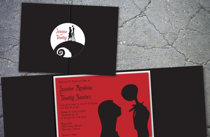 handmade wedding finds for Halloween themed I Dos red black invitations