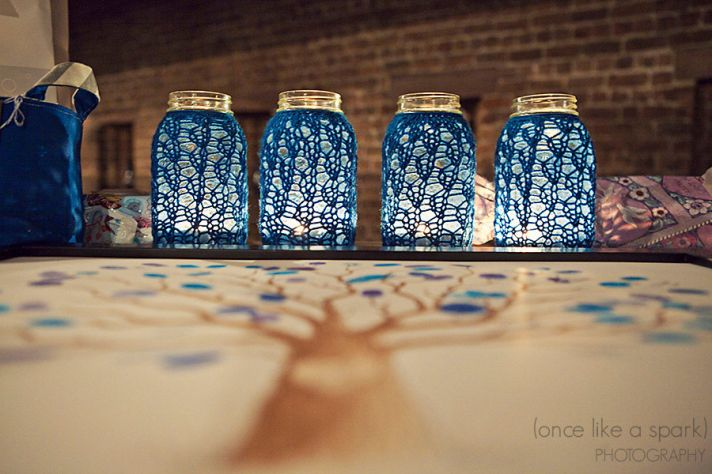 things brides love Mason Jar wedding reception decor centerpieces blue crochet