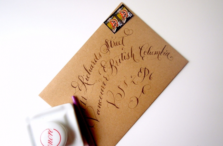 handmade wedding stationery decor using kraft paper Etsy weddings calligraphied envelope