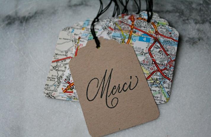 handmade wedding stationery decor using kraft paper Etsy weddings map favor tags