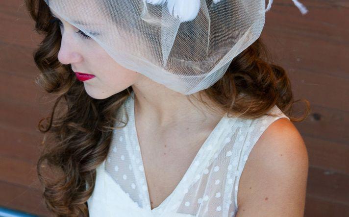 wedding inspiration from Etsy polka dots v neck bridal gown