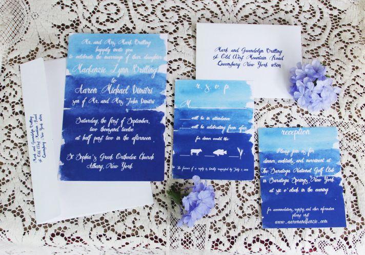 watercolor wedding invitations handmade weddings by Etsy blue ombre