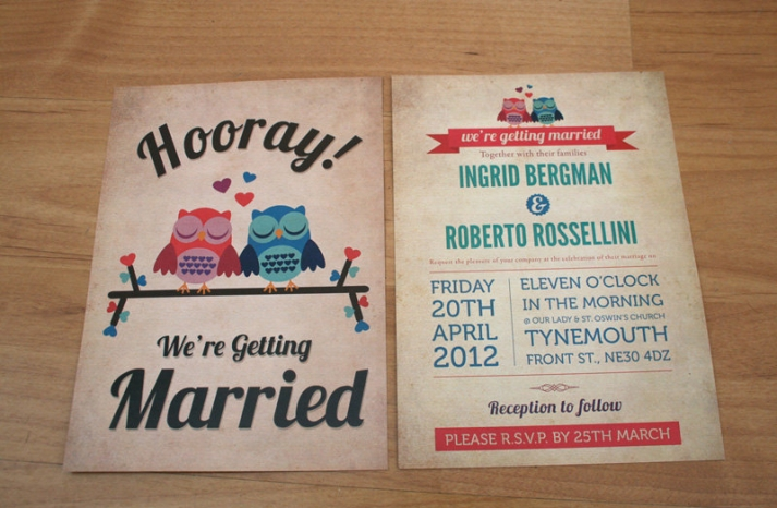 owls for the wedding 2012 reception trends handmade owl vintage retro invitation