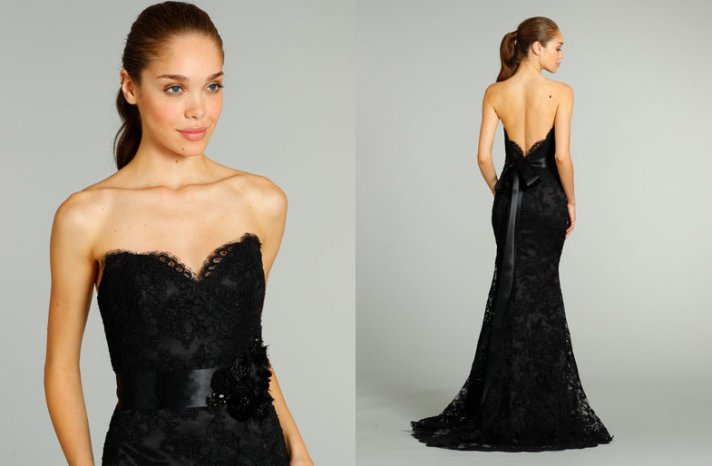 bridesmaids dresses for stylish bridal parties Jim Hjelm from JLM Couture black lace mermaid
