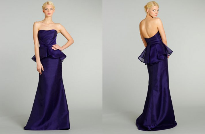 bridesmaids dresses for stylish bridal parties Noir by Lazaro from JLM Couture midnight blue long