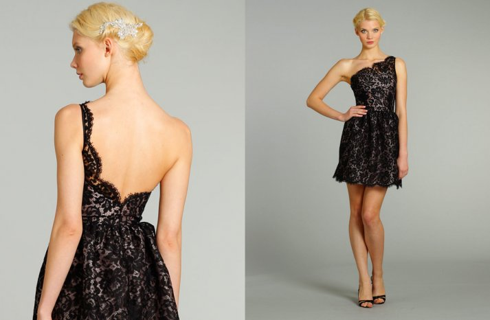 chic bridesmaid dresses from JLM couture bridals Noir by Lazaro 1