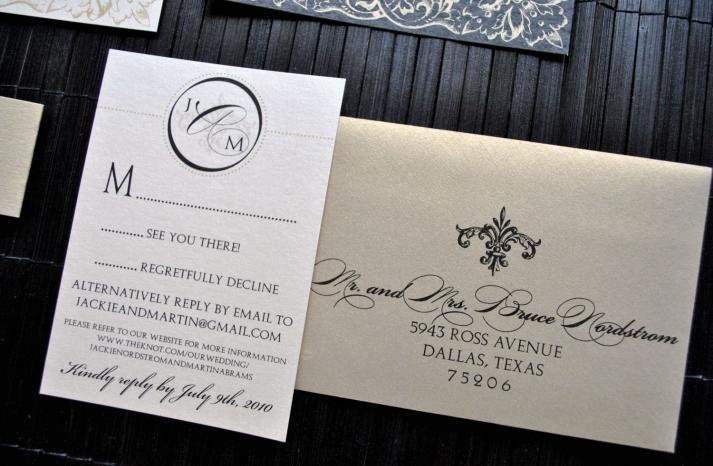 weddings by style Parisian romance wedding decor inspiration gold black elegant invite
