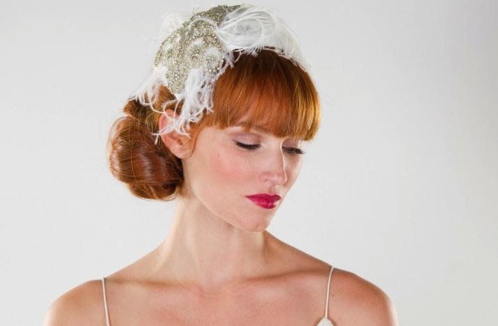 weddings by style Parisian romance wedding decor inspiration crystal feather cap