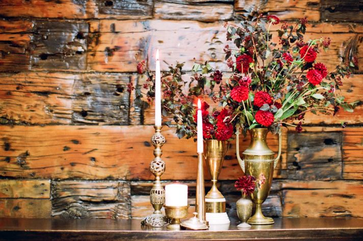 red gold burgundy wedding flowers elegant reception table