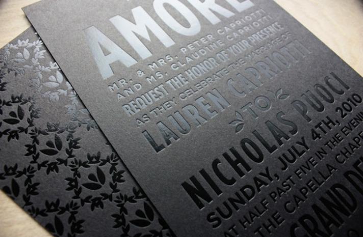 beautiful wedding invitations metallic foil stamping black silver