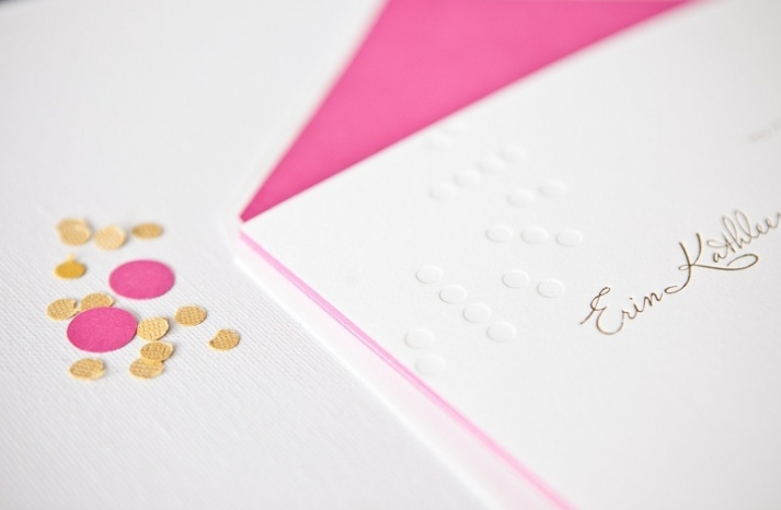 simple elegant foil stamped wedding invitations white gold pink 2