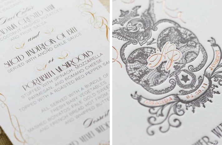 wedding invitation with rose gold foiling