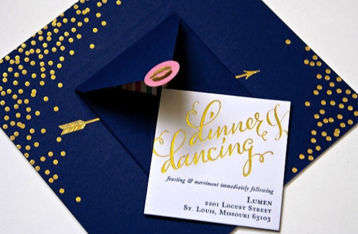 navy gold wedding invitations metallic foil stamped 1