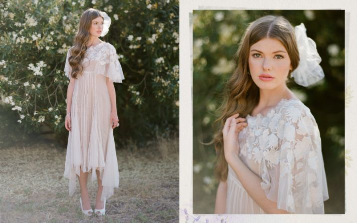 ruche wedding dress for alternative vintage brides