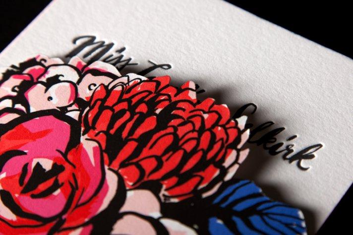 bold modern floral wedding invitation red pink blue black