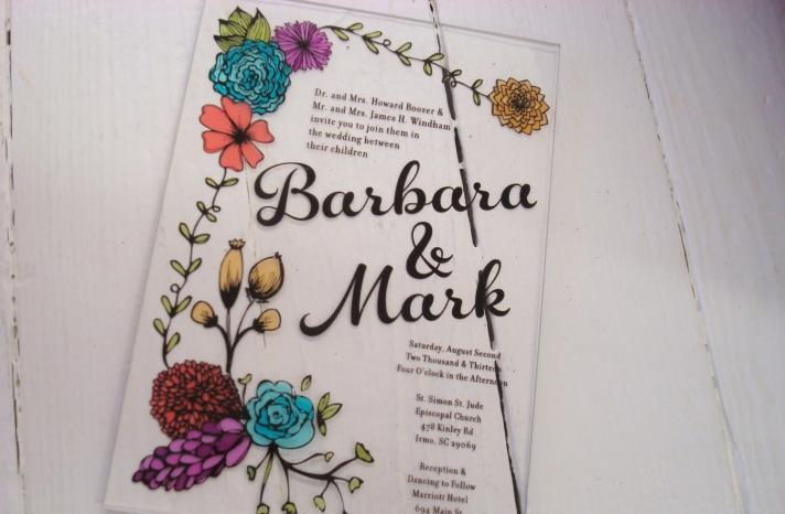 retro acrylic wedding invitation floral