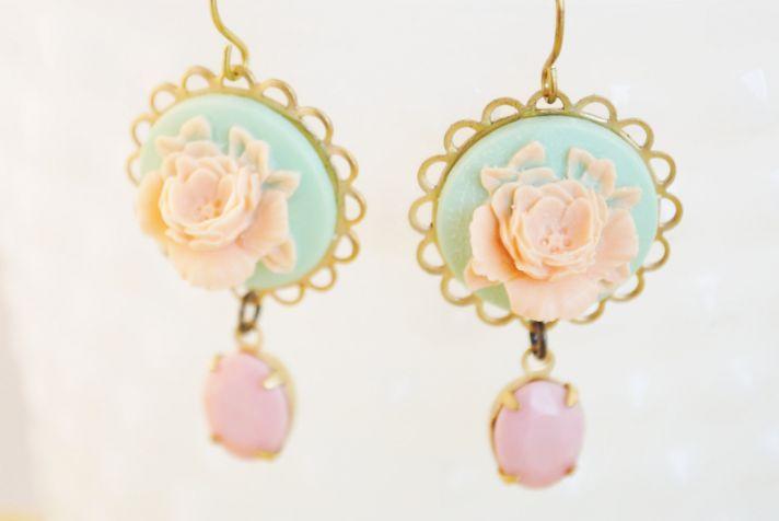 vintage inspired bridal earrings mint pink peach