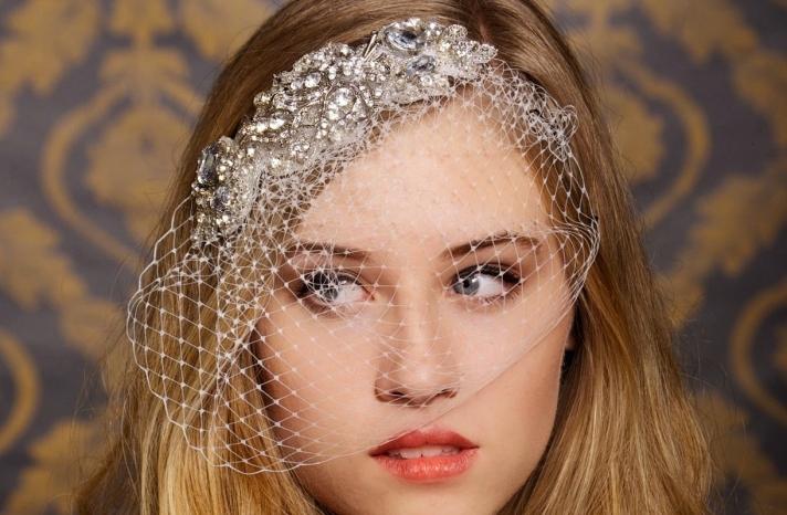 bejeweled bride wedding accessories veil