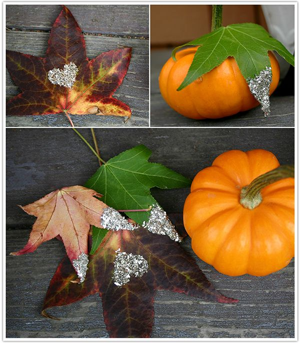 wedding DIY for fall glitter leavesa