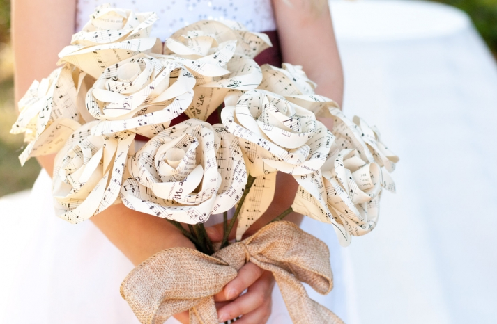 eco friendly wedding finds recycled on Etsy music paper rose bouquet