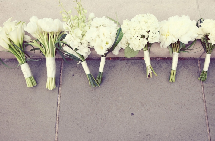 all white wedding flowers spring bridal bridesmaids bouquets