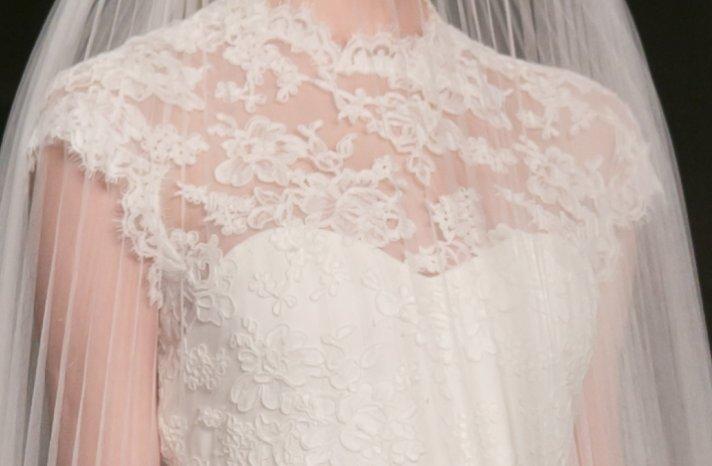 lace illusion neckline wedding dress Reem Acra Fall 2013