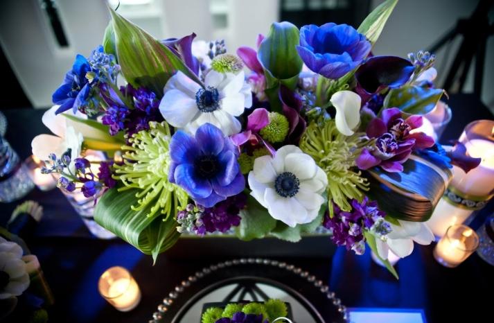 wedding reception centerpiece purple white