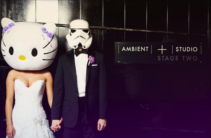 bride and groom in costume happy halloween weddings 2012