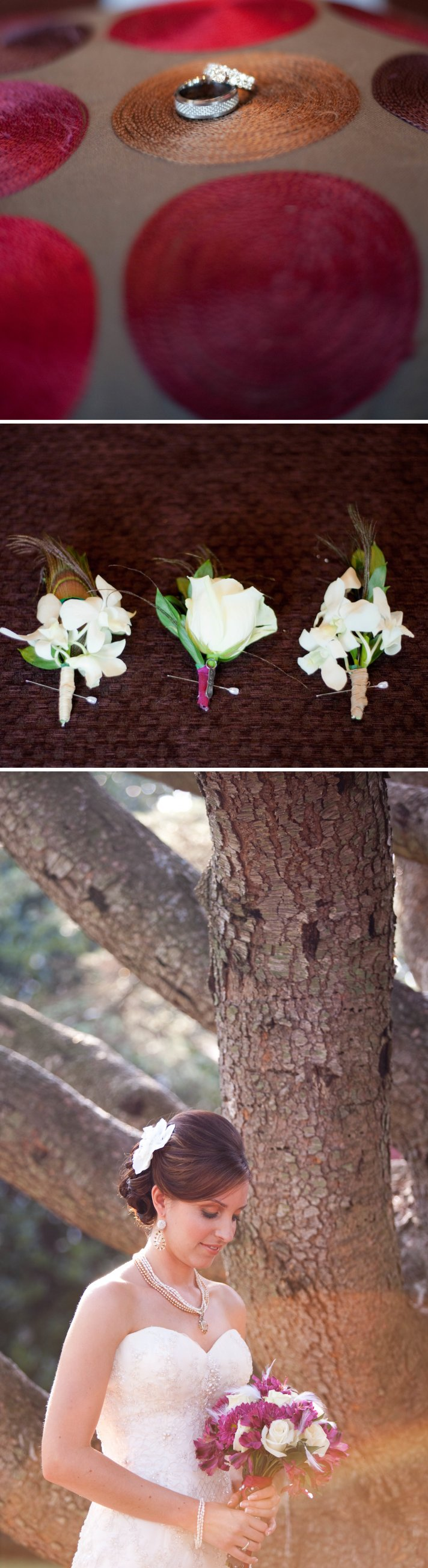 Beach Wedding in Delaware Fuschia White wedding flowers
