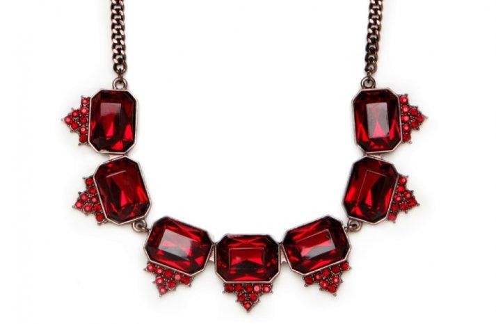 Red Wedding Accessories statement bridal necklace ruby gemstones