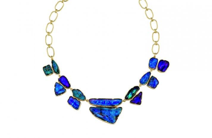 Something Blue Bridal Splurge wedding necklace opals gold