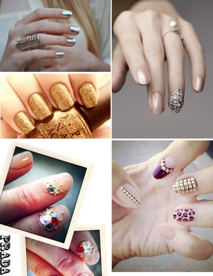 awesome wedding day manicures for beauty loving brides glam sparkly metallic