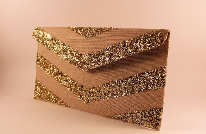 Glittery Gold Wedding Finds for Glam Handmade Weddings chevron clutch