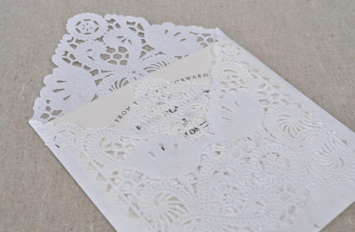 Handmade Wedding Finds Laser Cut lace envelopes