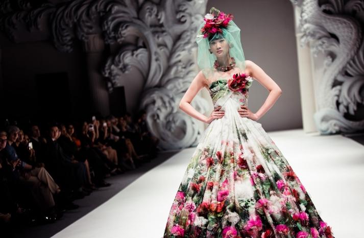 Cultural Wedding Inspiration Yumi Katsura Floral Bridal Gown