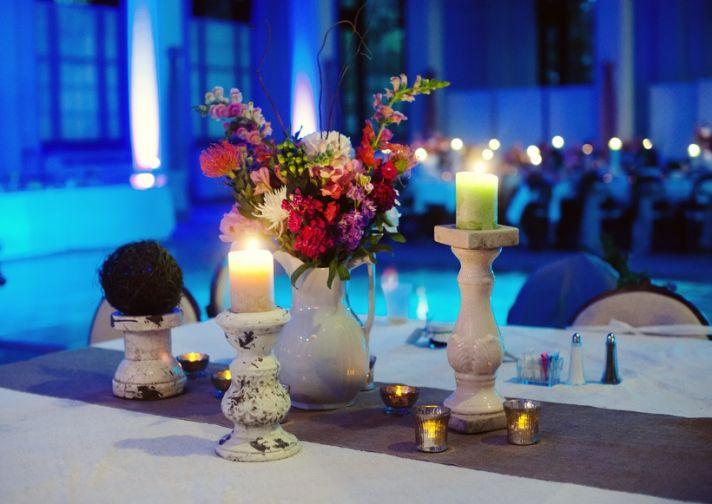 Classic Spring Wedding Evening Reception Flower Centerpieces