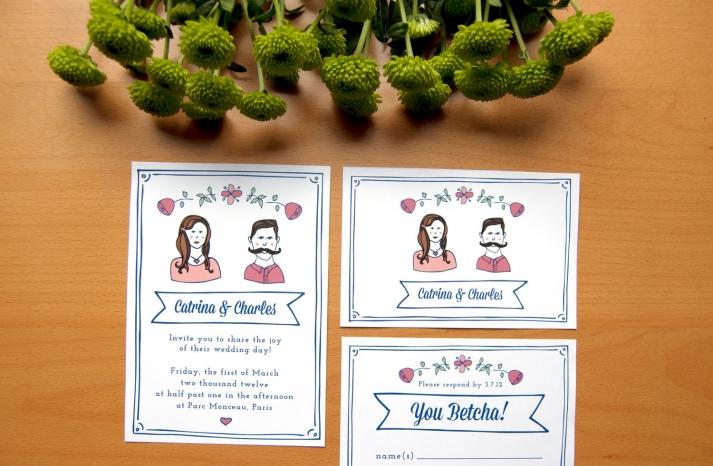 Cute Custom Wedding Invitation Illustrated Portraits