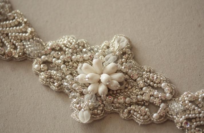Vintage Bridal Accessories Art Deco Beaded Wedding Dress Sash