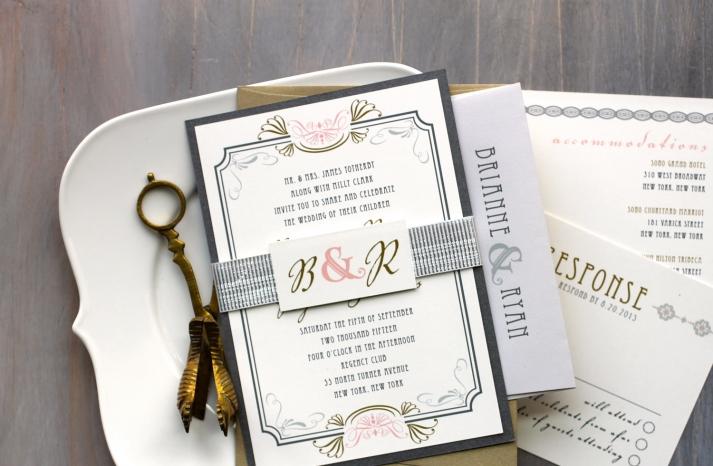 Elegant Art Deco Wedding Invitation Suite