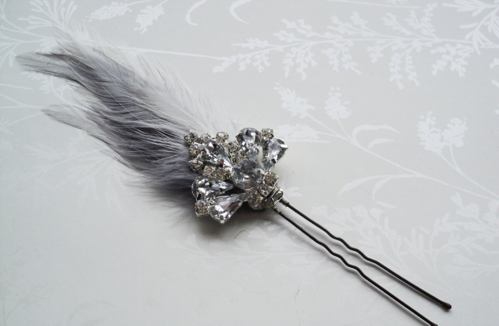 Gray Silver Bridal Hair Pin Art Deco Style